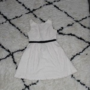 White Lace Dress with Black ribbon belt